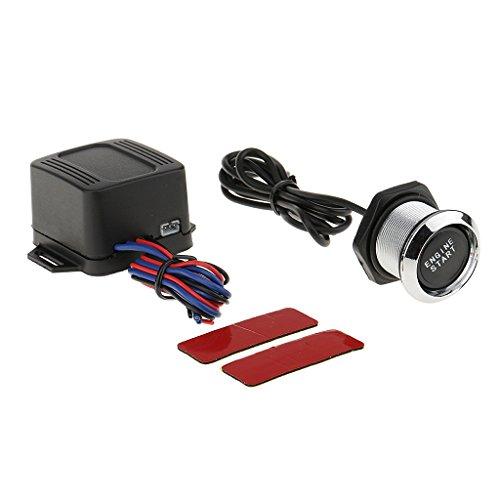 12v Universal Coche Motor Pulsador Interruptor Empezae Boton Ignición Arranque Kit Fácil Instalar Operetar - Luz azul