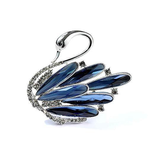 ZLININ Y-Longhair Moda Chic Cigno Spilla di Cristallo, Fiore all'occhiello Giacca, Spille, Elegante Atmosfera Accessori Spille