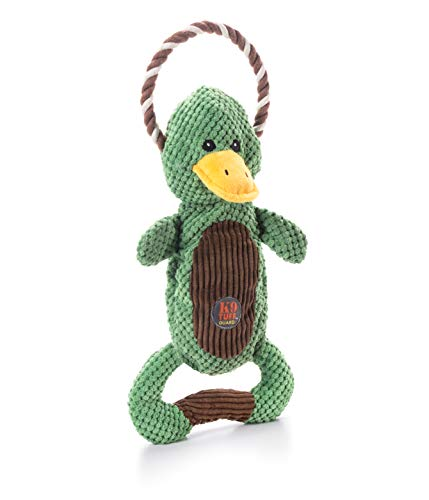 Charming Pet Scrunch Bunch Duck Interactive Plush Squeaky Dog Tug Toy