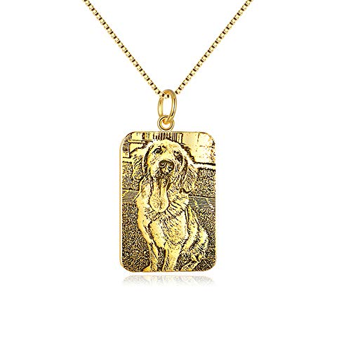 Personalized Picture Engraved Necklace, Custom Pet Dog Cat Silhouette Photo Pendant Necklace, Gold Plated Sterling Silver Customized Image Back Text Engraving Jewelry for Women Men (Gold Square)