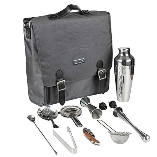 Jillmo Bartender Travel Kit, 11-Piece Cocktail Shaker Set with Waterproof Bartender Bag