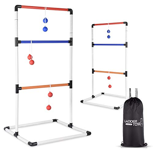 Abco Ladder Toss Ball Game - Box Shaped Sturdy & Stable Base – 6 Toss Bolos with Thick Rope – Built-in Score Tracker – Ideal for Indoor/Outdoor Game - with Backpack Bag – Easy Setup – 2-4 Player