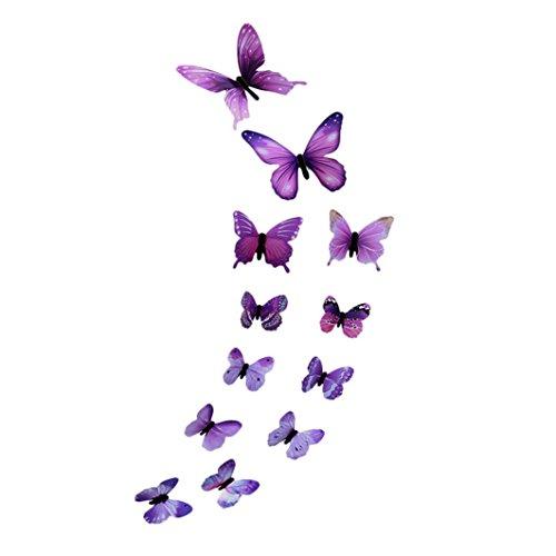 Trada 12 transparente Schmetterlingsanzüge Aufkleber, 3D DIY Wandaufkleber Aufkleber Schmetterling Home Decor Zimmer Dekorationen Neu Punkte zum Kleben Wandtattoo Sticker Wanddeko (Lila)