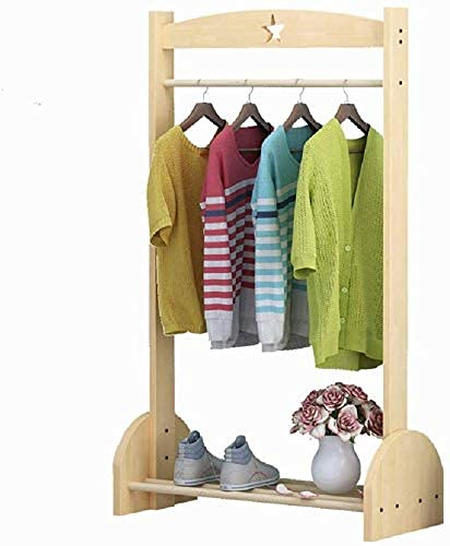 N/Z Home Furnishings Coat Shoes Hats Stand Rack Children's Coat Rack Rack Solid Wood Simple Hanger Floor Coat Rack Hanger Bedroom Clothes Rack (Color : Wood Size : 120x60x30cm)