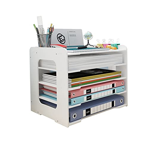 Haodan electronics Cookbook Holders Multi-layer Desktop File Organizer,Multifunctional Office Supplies Organizing Rack Portable File Storage Box Book Stand (Color : White, Size : A)
