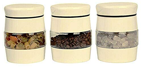 AQS International - Juego de 3 tarros de cristal para té, café, azúcar, multiples tarros de almacenamiento