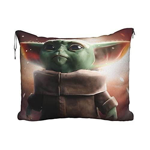 Star Wars Yoda - Manta de viaje para bebé, portátil, 2 en 1, manta de avión, súper suave, acogedora