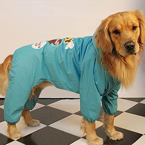 HDDFG Ropa Impermeable para la Lluvia para Perros de Verano, Impermeable para Perros Grandes, Samoyedo, Golden Retriever, Disfraz de Labrador, Abrigo para Mascotas (Color : Green, Size : 34)
