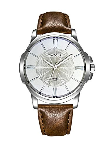 YAZOLE 332 Men Watches Luxury Famous Male Clock Quartz Watch Brown Leather Wrist Watch