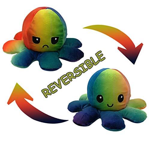 Auifor Flip Plüsch Oktopus Spielzeug, stofftier Puppe Doppelseitiger Flip Reversibel Sanft Tintenfisch Kinder Süß Tier Cartoon plüschtier 1 Stück Geschenk Kinderspielzeug (A17)