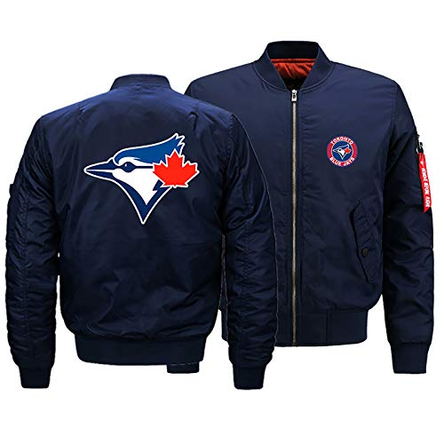 GMRZ MLB Herren Jacke, Mit Toronto Blue Jays Logo Major League Baseball Team Sweatshirts Fans Jerseys Sweatjacke Mit Warm Winter Outdoor Ski-Jacket,B,M