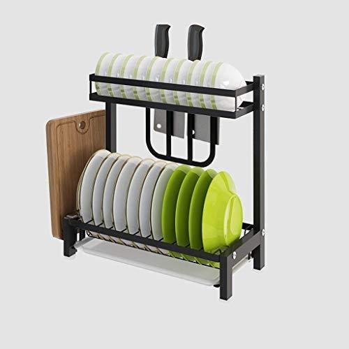 Dongyd Cuisine ustensiles de cuisson Organisateur - acier Plateau de cuisson multifonctions rack Support de rangement plat de séchage Rack Chrome vaisselle égouttoir, Noir (Size : C)