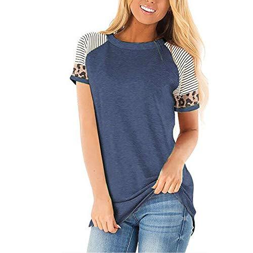 PPPPA Damen kurzärmeliges Rundhals-T-Shirt Frühling und Sommer sexy lose Farbe passend lässig Top Damen Leopard Farbe passend kurzärmeliges T-Shirt runde Farbe passend Ärmel Rundhals-T-Shirt