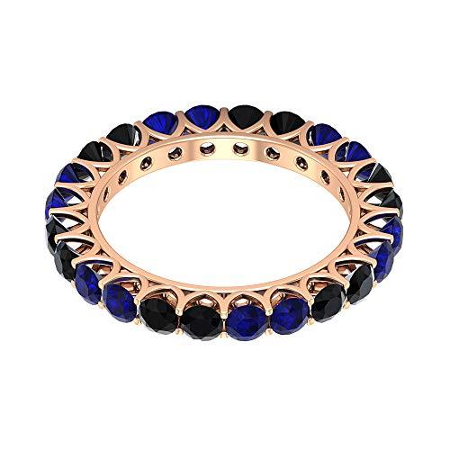 Anillo de boda delicado, 1,8 quilates, anillo alternativo de zafiro azul, HI-SI 1,2 quilates, espinela negra apilable, anillo de aniversario de las mujeres, 14K Oro rosa, Size:EU 70