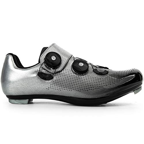 YQSHOES Mens Road Bike Cycling Shoes Compatible with Cleats SPD & Delta Indoor Racing Bikes Shoes with Rotating Buckle for Men/Women Quick Lock Cleat Outoor Bicycle Shoe,C,44EU/9.5UK/10US
