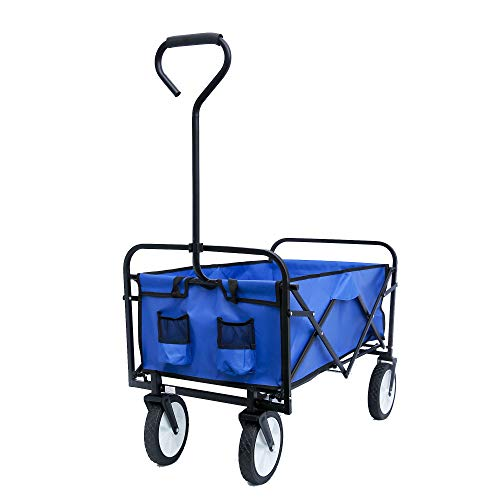 Collapsible Outdoor Utility Wagon Cart with Adjustable Handles, Folding Wagon Garden Shopping Beach Cart with Add Bundle Rope Reflection belt, for Outdoor Activities, Beaches, Parks, Camping (Blue)