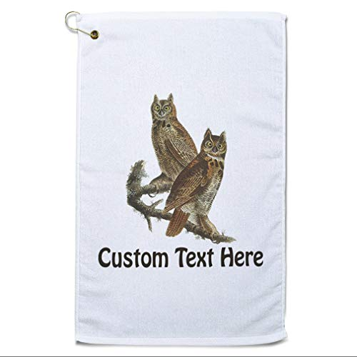 Style In Print Custom Golf Towel Personalized Great Horned Owl James Audubon Birds Animals Cotton Bag Accessories White Text Here