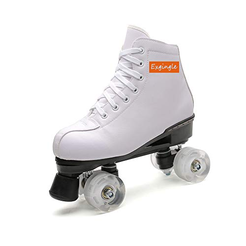 Exgingle Adult Roller Skates High Top Indoor Outdoor Quad Skates White 9 M US Women