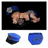 NROCF Neugeborene Fotografie Kleidung Häkeln, Kommt Mit Gestrickten Polizei Hut Handschellen Baby Fotografie Requisiten (Blau)