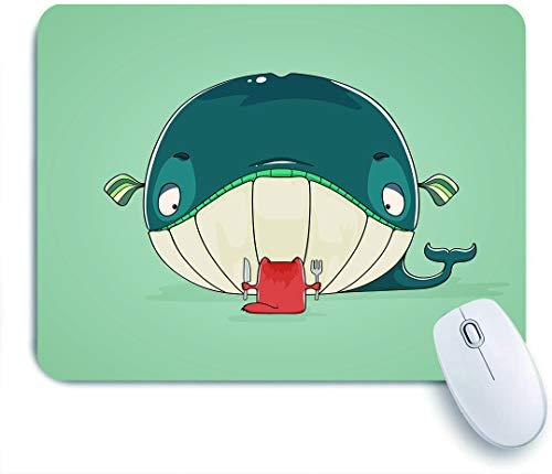 NOLOVVHA Gaming Mouse Pad,eine gierige kleine Katze, die sich hinsetzt, um ein riesiges Fischdinner mit Wal zu essen, das Messer und Gabel,für Computer Laptop Office Desk,240 x 200mm