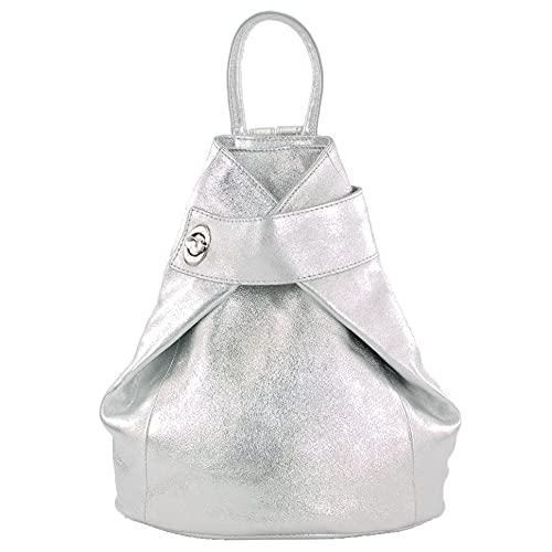 modamoda de - T179 - ital: Damen Rucksack Tasche aus Leder, Farbe:Silber-Metallic
