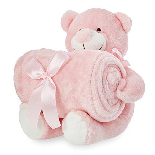 smileBaby Set superweiche Babydecke 100x75cm mit Kuscheltier Bär rosa