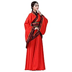 woman wearing long red Chinese outfit