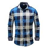 Camisa de Hombre de Talla Grande Europea y Americana Otoño e Invierno Camisa Estampada de Bloque de Color a Cuadros de Manga Larga Blusa de Oficina de Negocios de Trabajo Tops Formales 3XL