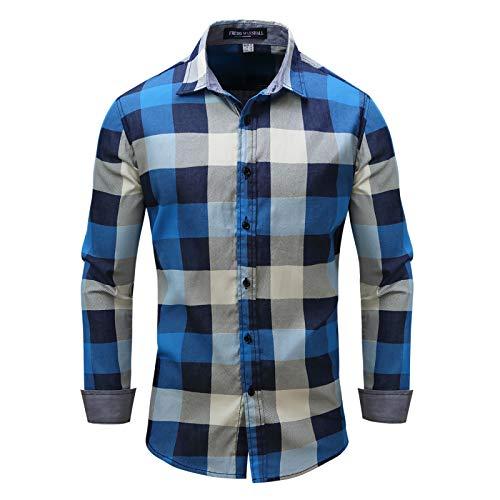 Camisa a Cuadros Retro para Hombre, Solapa de Moda, Bloqueo de Color, Ropa de Calle, Informal, de Oficina, clásica, Camisa de Manga Larga de un Solo Pecho 3XL