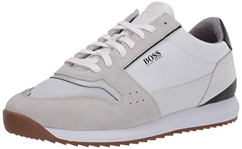 Hugo Boss Men's Sonic Runn Fully Lined Sneaker, Pearl White, 45 Medium US