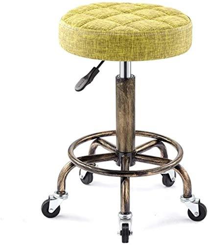 LIUBINGER Silla de Oficina Silla de Masaje hidráulica Silla de salón Base de Metal Anti-óxido con Reposo en pie Proporciona Comodidad Adicional (Color : Yellow)