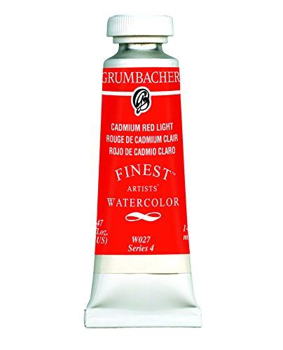 Grumbacher Finest Watercolor Paint, 14 ml/0.47 oz, Cadmium Red Light
