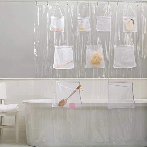 Le rideau de douche transparent avec poches Ufengke home FKW1315