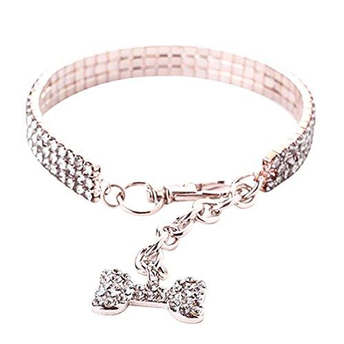 Oyedens Haustier Halsbandschmuck Halskette Hunde Katze Weiss Strass Glitzer mit Bones Anhänger Einstellbar Halsband 35cm (M, Silber)