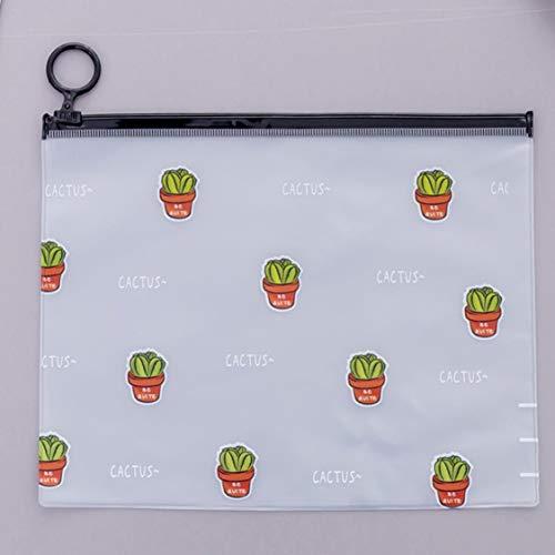 DDyna Lindo, Fresco, Transparente, Helado, Anillo de Cactus, Bolsa de Almacenamiento, Gran Capacidad, Estuche para lápices de papelería para Estudiantes - Transparente