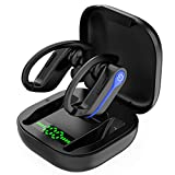 MuGo Wireless Earbuds Sports Bluetooth 5.1 Headphones with 10H Single Playtime, Immersive Sound TWS Bluetooth Earbuds with Earhooks IPX7 Waterproof Sports Wireless Headphones for Running Workout-Blue