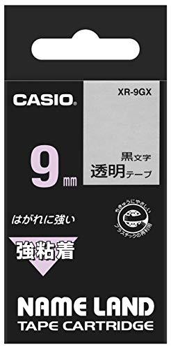 カシオ ラベルライター ネームランド 強粘着テープ 9mm XR-9GX 透明