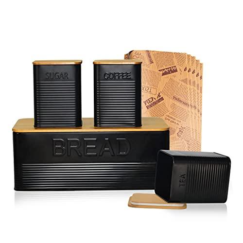 upra Bread box kit, breadbox with Extra Bamboo Cutting Board Lid, Space-Saving Holder, Metal Keeper Bin - (Black) Retro Vintage,cookie,for kitchen countertop,storage jar,Decor 13'7.1'4.7', set of 4