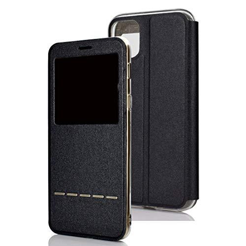 Dmtrab para Para iPhone 11 Matte Texture Horizontal Flip Soporte Teléfono Móvil Holster Window con identificador de Llamadas y Diapositiva de Metal para desbloquear (Negro) (Color : Black)