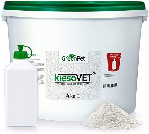 GreenPet KiesoVet Kieselgur für Hühner 4kg - Reine biologische Diatomeenerde inkl. Stäubeflasche im Eimer, Kieselerde Pulver, Bio Produkt für Hühnerställe, Hühner & Geflügel Betriebe