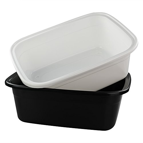 Fiaze 2-Pack Multi Purpose Washing Basin, Plastic Wash Tub, 18 QT Dish Pan (Black, White)