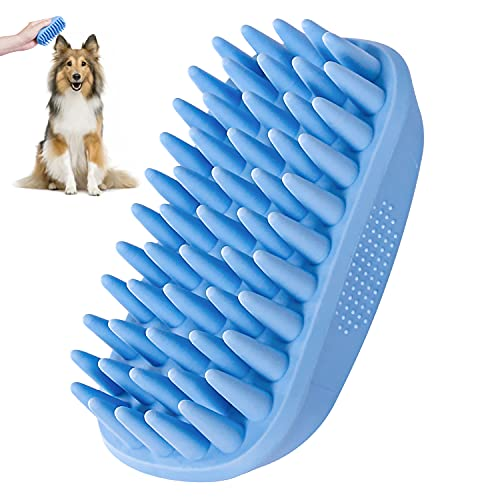 Dog Bath Brush,Rubber Dog Shampoo Grooming Brush, Silicone Dog Shower Wash Curry Brush, Pet Scrubber for Short Long Haired Dogs Cats Massage Comb, Soft Shedding Bathing Brush Removes Loose & Shed Fur