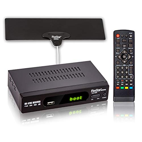 Five Star ATSC HD Digital TV Converter Box w/ 1080p HDMI Output, 40 Miles Over The Air(OTA) Flat Antenna & Amplifier, Daily/Weekly Scheduled PVR Recorder w. TV Control Learning Buttons