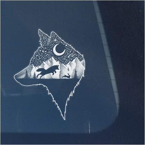 Wolf Hunting Rabbit in Mountains with Trees Clear Vinyl Decal Sticker for Window, Night Hunter Under Stars and Moon Sign Art Print Design