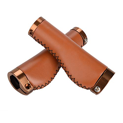 Keenso Bike Handlebar Grips, Best Grip PU Leather Bicycle Grips Dual Lock Grips for Mountain Folding Bicycle (Brown)