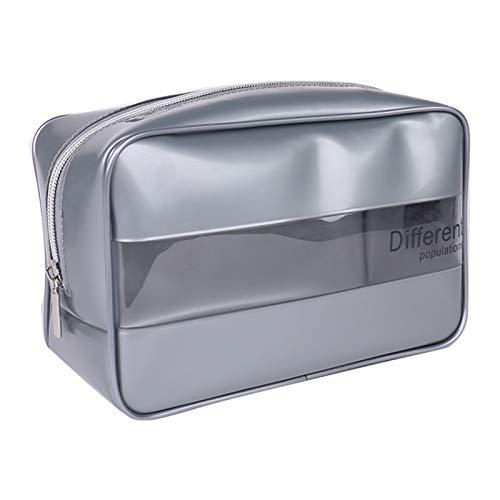 SYXX Caja de almacenaje 1 PC Mujeres Clear Cosmetic Bags PVC Caja de Belleza Maquillaje Bolsa Gran Viaje Maquillaje Organizador Bolsa Necessire Feminina (Color : Plata)
