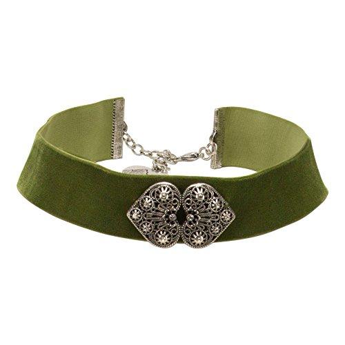 Alpenflüstern Trachten-Samt-Kropfband Ornament-Herzen Trachtenkette enganliegend, Kropfkette elastisch, Damen-Trachtenschmuck, Samtkropfband breit in traditionellen Farben DHK206 (grün)