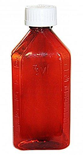 Amexdrug Oval Plastic Bottles - 8 oz - Amber - Child Resistant Caps - 12 pcs (Medicine Bottle, Pharmacy Bottle, Liquid Medicine)