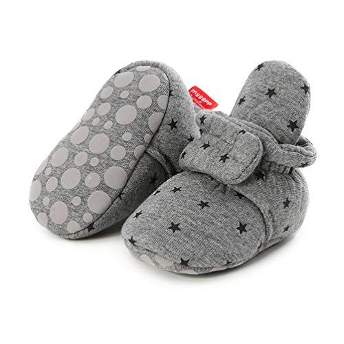 Botas de Niño Calcetín Invierno Soft Sole Crib Raya de Caliente Boots de Algodón para Bebés (0-6 Meses, D_ Estrellas Grises Oscuras, Tamaño de Etiqueta 11)