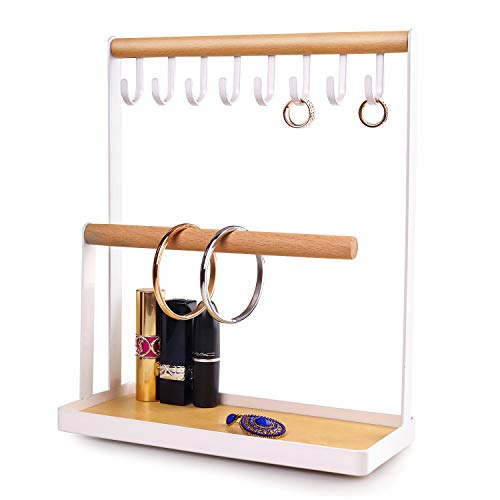 Jewellery Organiser Display Stand Holder with Wooden Ring Tray and Hooks Storage Necklaces Bracelets, Rings, Watches Desk Organiser